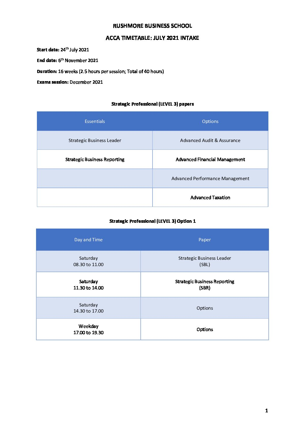 ACCA Level 3 Timetable