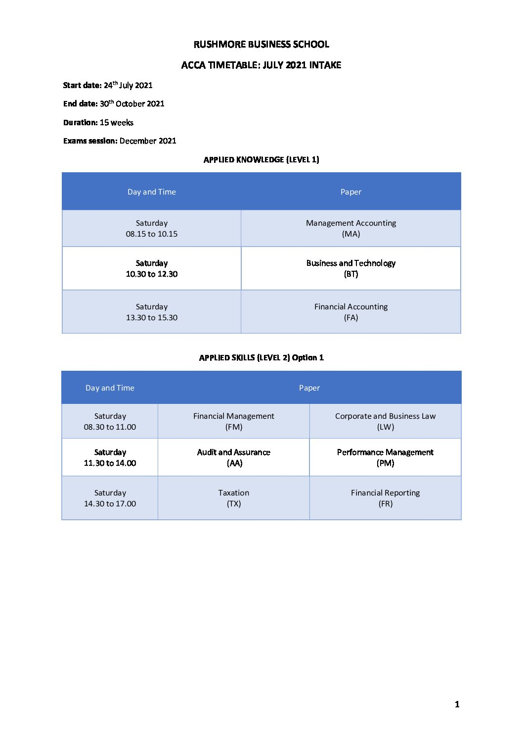 ACCA Levels 1 & 2 Timetable